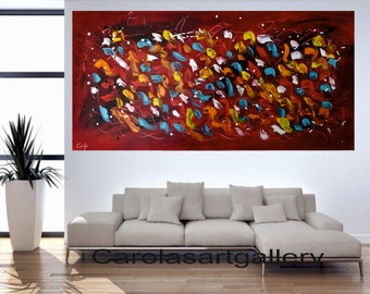 "48""  Original Abstract Painting  Acrylic Painting Modern Art  Handmade by Carola, 48""x24"""