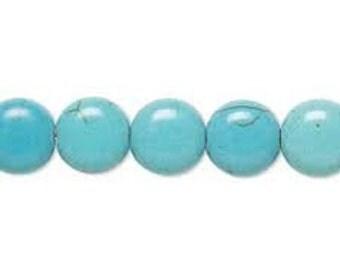 "Turquoise Magnesite Puffed Flat Round Beads - 9x10mm Round Beads - 15"" Strand"