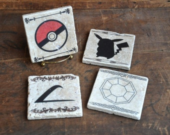 Pokemon Tile Coaster Set - Handmade