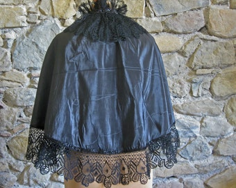 Victorian cape, antique French black silk and lace capelet trimmed with jet beading