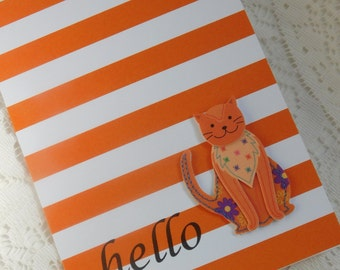 Orange Kitty Cat Handmade Greeting Card with Hello - blank any occasion note card