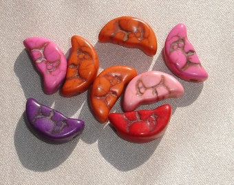 Colorful Howlite Crescent Moon Beads - 8 pcs - Jewelry making Supply