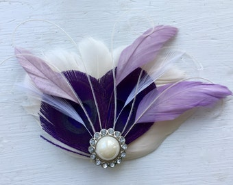 BREE Purple, Lavender, and Ivory Feather Fascinator with Crystal and Pearl, Feather Hair Clip, Bridal Hair Piece