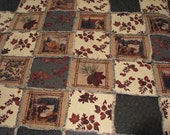 Flannel Rag quilt, Queen size quilt, rag quilt, large quilt, scenic quilt, quilt,rustic quilt, bed blanket, wildlife quilt, wildlife blanket