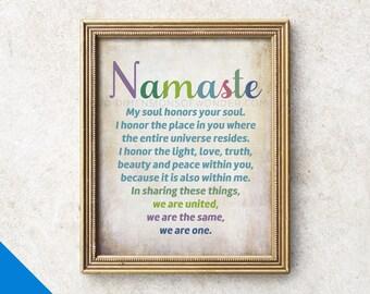 Namaste ART PRINT, inspirational art, namaste poster, inspiring wall art, inspiring poster, inspiring prints, yoga wall art, mindfulness.
