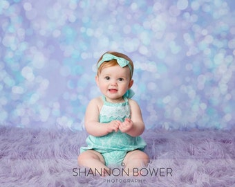 5ft x 5ft + Photography Backdrop - Celestial Bokeh, Purple Backdrop, Teal Backdrop