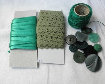 Craft set -green-lace,satin ribbon,cotton thread,mix of vintage buttons