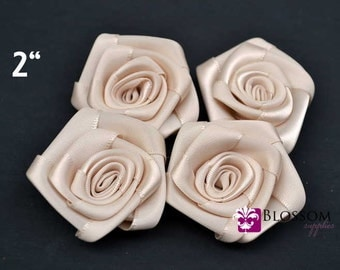 "Set of 4 flowers - CREAM - The Lydia Collection - 2"" Satin Rolled Ribbon Flowers - DIY Flower Headbands - Petite Rosettes"