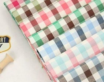 Cotton Fabric,Gingham,Plain Fabric,Medium thickness,fresh Style,diy,fabric,Sewing--1/2 yard (QT281)