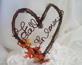 Rustic Vine Cake Topper, Fall In Love Wedding Decor