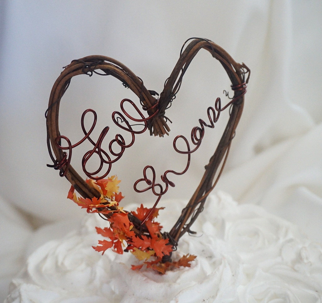fall wedding cake toppers rustic vine cake topper fall in wedding decor 14178