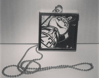 Recycled comic book Johnny the homicidal maniac handmade pendant Mr Z metal framed on silver chain spooky Jhonen Vasquez ooak goth jewelry