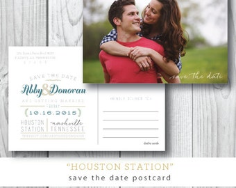 Houston Station Printed Save the Date Postcards | Photocard Save the Date Postcard | Printed or Printable by Darby Cards