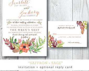 Saffron and Sage Watercolor Wedding Invitations | Wedding Invitation and additional pieces |  Printed or Printable by Darby Cards