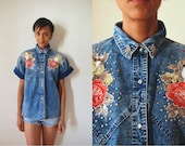 Vtg Acid Wash Studded Collar Floral Print SS Button Down Shirt