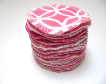 Reusable Facial Rounds, 20 PINK Mix Cosmetic Rounds, Makeup Remover Pads, Eco-Friendly Face Scrubbies, Add on Wash Bag