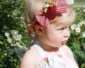 Strawberry Dream, Glittery strawberry headband, red and white stripe,Tuxedo Bow, baby headband, toddler headband, infant