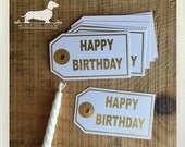 CLEARANCE! 8 Happy Birthday. White Gift Tags -- (Gold Foil, Hang Tags, Birthday Gift Wrap, Party, Favor Tags, Happy Birthday Card, Simple)
