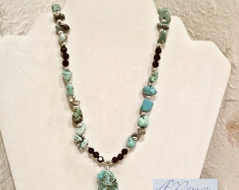 """Necklace Genuine Faceted Azabache, Turquoise and Howlite, 925 Sterling Silver  """"Elegance"""" Shipping is Free World -Wide"""