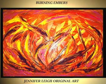 Original Large Abstract Painting Modern Acrylic Oil Painting Canvas Art Orange Purple Yellow Flames 36x24 Palette Knife Textured  J.LEIGH