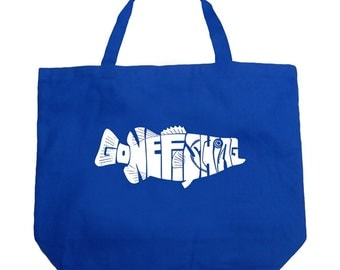 Large Tote Bag - Bass - Gone Fishing