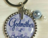 Godmother keychain, Godmother Gift, Personalized Christening gift, Godparent gift, Baptism Gift