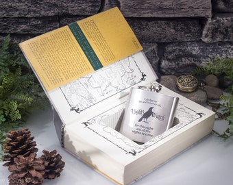 """Game of Thrones – Hollow Book Safe and Laser Engraved Hip Flask – """"Dance with Dragons"""" – 6oz Hip Flask – Monogram or Personalization"""