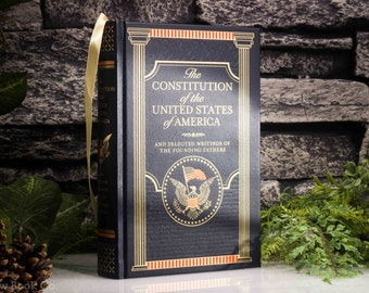 Hollow Book Safe - The Constitution of the United States of America (LEATHER BOUND) - Magnetic