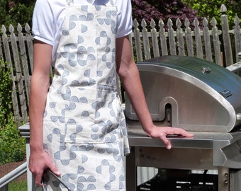 Mens Apron, Gift for Dad, Daddy and Me Aprons, Handprinted Midweight Cotton