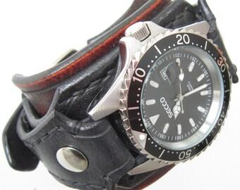 Vintage Black Leather Watch, Gothic Black Leather Wrist Watch