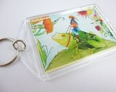Art key chain, frog art, photo keychain, gnome and frog key chain