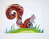 Colorful art print. Funky Squirrel