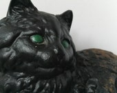 Cast Iron Black Cat Doorstop Garden Cat Rusty garden decor Cottage Chic Victorian decor Hubley Iron Cat