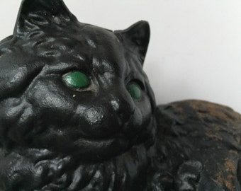 Cast Iron Black Cat Doorstop Garden Cat Rusty garden decor Cottage Chic Victorian decor Hubley Iron Cat