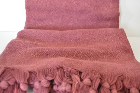 Hand Throwing Stone : Peshtemal throw hand loomed stone washed cotton vintage