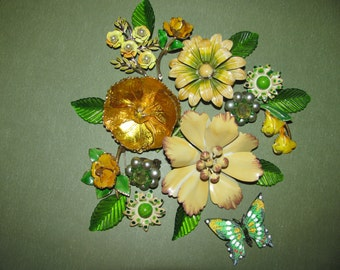 Huge Jewelry Lot To Create a Treasure Enamel Flower Brooches and Earrings