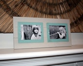 Gallery Wall Frames, Distressed Picture Frame, Collage Frame, Double 5x7 Frame, Rustic Picture Frame, Aqua Frames