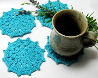 Blue Crochet Coaster Glass Coaster Crochet Doily Medium size