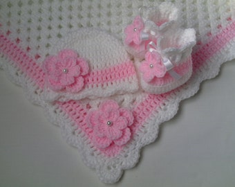 Crochet Baby Blanket, Hat and  Booties Set gift christening baptism girl baby pink flower afghan
