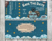 Smashing Pumpkins Steampunk Ticket, Printable Wedding Save the Date, Mellon Collie and the Infinite Sadness inspired, Music Invitation