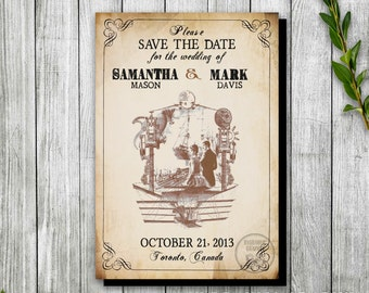 Steampunk Printable Save the Date, Steampunk Invitation for Wedding Magnet, Industrial Wedding Theme, Travel Steampunk Wedding Save the Date
