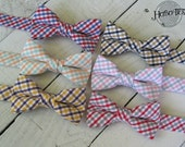 Boys Tattersall Bow Tie~Boys Bow Tie~Wedding Tie~HoBo Ties~Cotton Bow Tie~Boys Gift~Wedding Bow Tie~Peach and Mint~Pink and Gray~LSU~WFU
