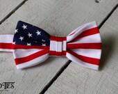 Boys American Flag Bow Tie~Boys Bow Tie~Patrioric Bow Tie~Boys Bowtie~Boys Tie~Wedding Tie~Cotton Bow Tie~Pre-Tied Tie