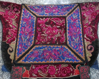 Vintage Hmong baby carrier , Handmade tapestry textiles, hill tribal fabrics from Thailand