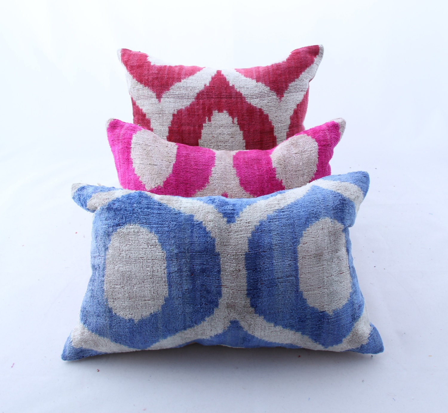 Handmade Ikat Throw Pillows : Berzey /Handmade Velvet ikat Pillows 3 pcs Awesome