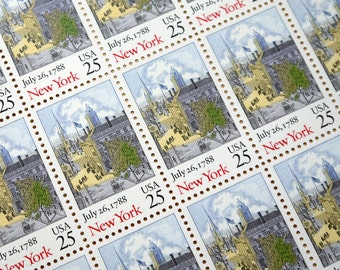50 pieces - 1988 25 cent New York statehood - Vintage unused stamps - great for wedding invitations, save the dates