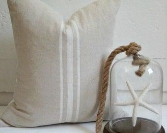 White Striped Canvas Pillow / Nautcial Pillow /grainsack pillow /Navy Pillow /White Pillow /Black Pillows / Lakehouse Pillow / Beachy Pillow