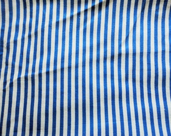 blue striped vintage cotton fabric -- 36 wide by 2 yards