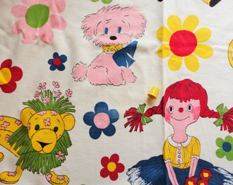 puppies, lions and dolls juvenile print vintage cotton fabric