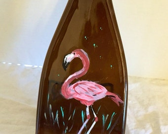 Hand Painted Flamingo Amber Glass Wine Bottle Cheese Tray/Platter